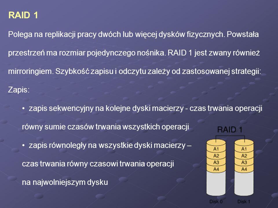 RAID 1 Polega na replikacji pracy dwóch lub więcej dysków fizycznych. Powstała.
