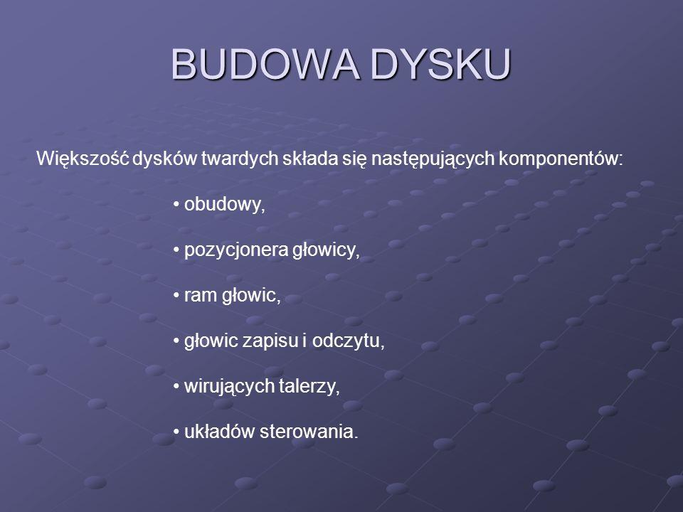 BUDOWA DYSKU Większość dysków twardych składa się następujących komponentów: obudowy, pozycjonera głowicy,