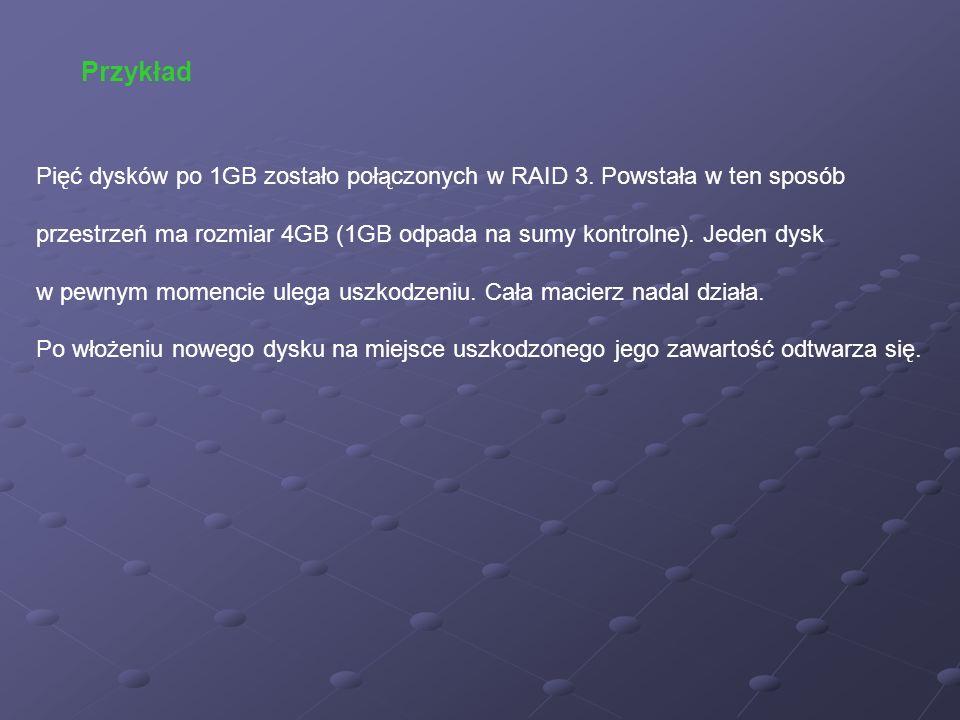 Przykład Pięć dysków po 1GB zostało połączonych w RAID 3. Powstała w ten sposób.