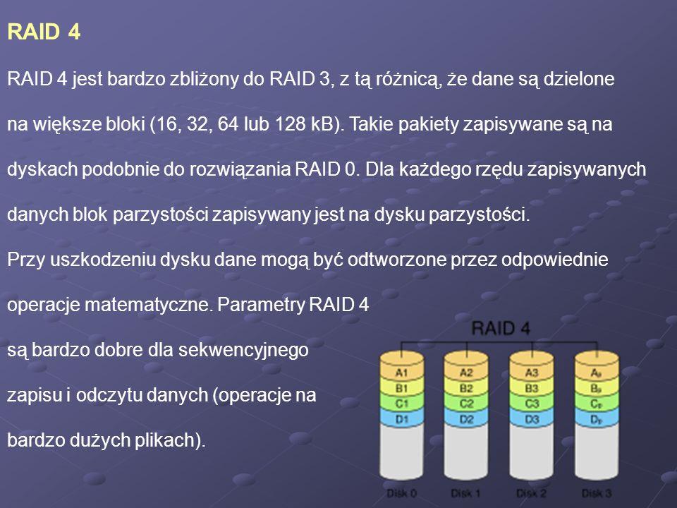 RAID 4 RAID 4 jest bardzo zbliżony do RAID 3, z tą różnicą, że dane są dzielone.