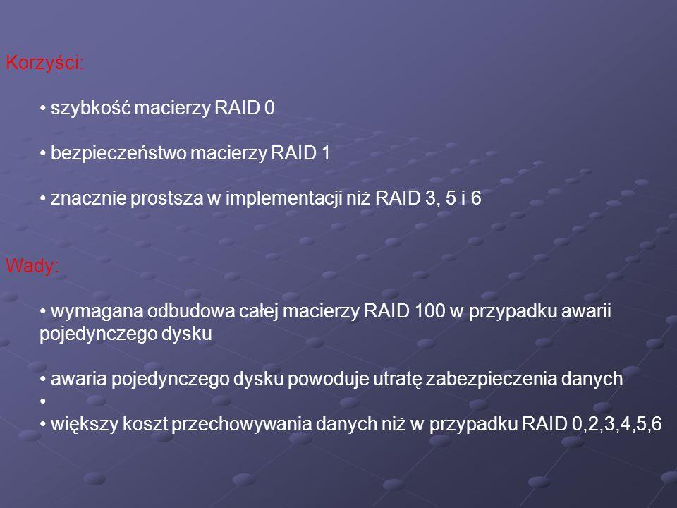Korzyści: szybkość macierzy RAID 0. bezpieczeństwo macierzy RAID 1. znacznie prostsza w implementacji niż RAID 3, 5 i 6.
