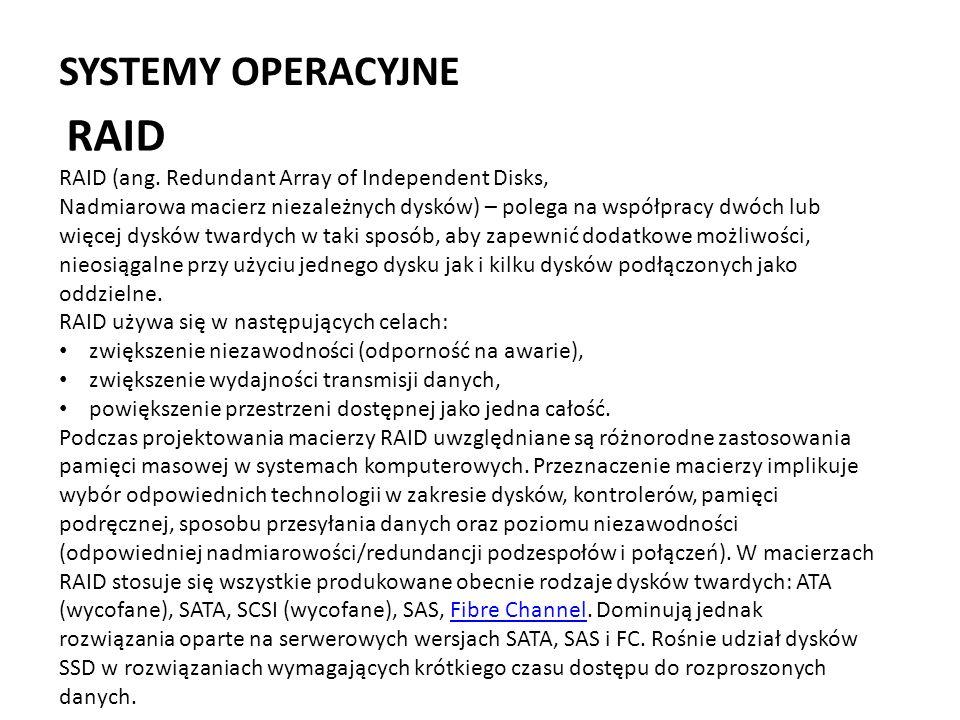RAID SYSTEMY OPERACYJNE
