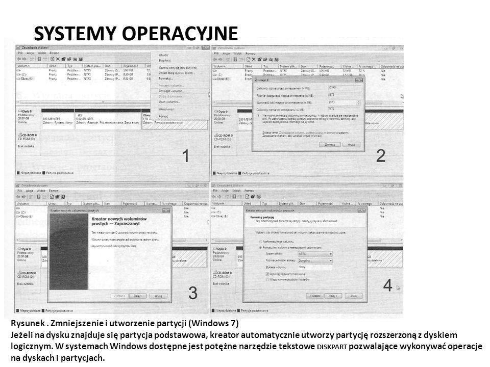SYSTEMY OPERACYJNE Rysunek . Zmniejszenie i utworzenie partycji (Windows 7)
