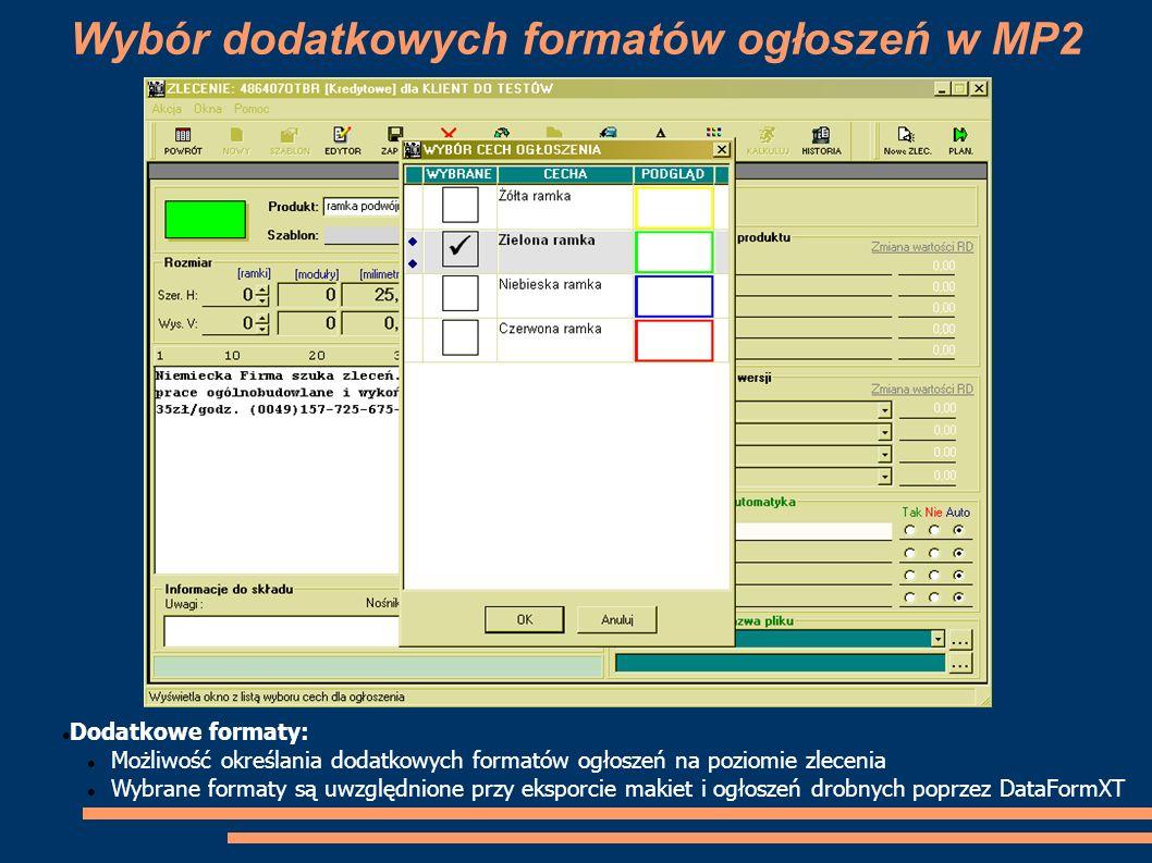 Wybór dodatkowych formatów ogłoszeń w MP2