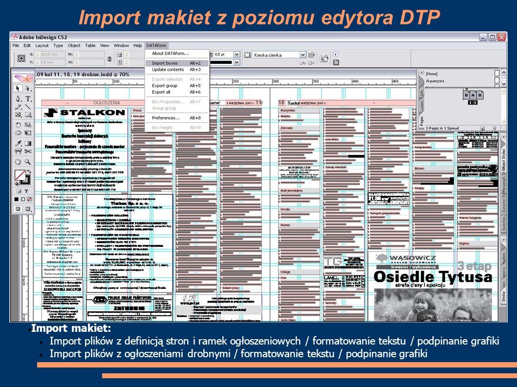 Import makiet z poziomu edytora DTP