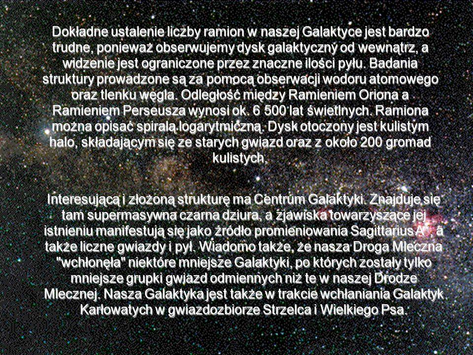 Dokładne ustalenie liczby ramion w naszej Galaktyce jest bardzo trudne, ponieważ obserwujemy dysk galaktyczny od wewnątrz, a widzenie jest ograniczone przez znaczne ilości pyłu. Badania struktury prowadzone są za pomocą obserwacji wodoru atomowego oraz tlenku węgla. Odległość między Ramieniem Oriona a Ramieniem Perseusza wynosi ok. 6 500 lat świetlnych. Ramiona można opisać spiralą logarytmiczną. Dysk otoczony jest kulistym halo, składającym się ze starych gwiazd oraz z około 200 gromad kulistych.