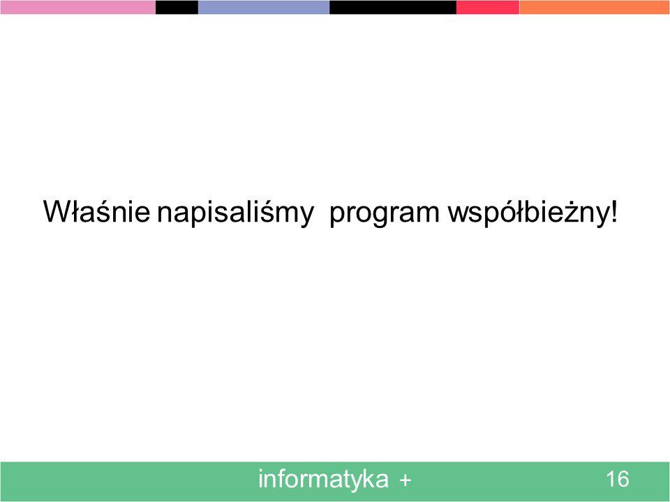 Właśnie napisaliśmy program współbieżny!