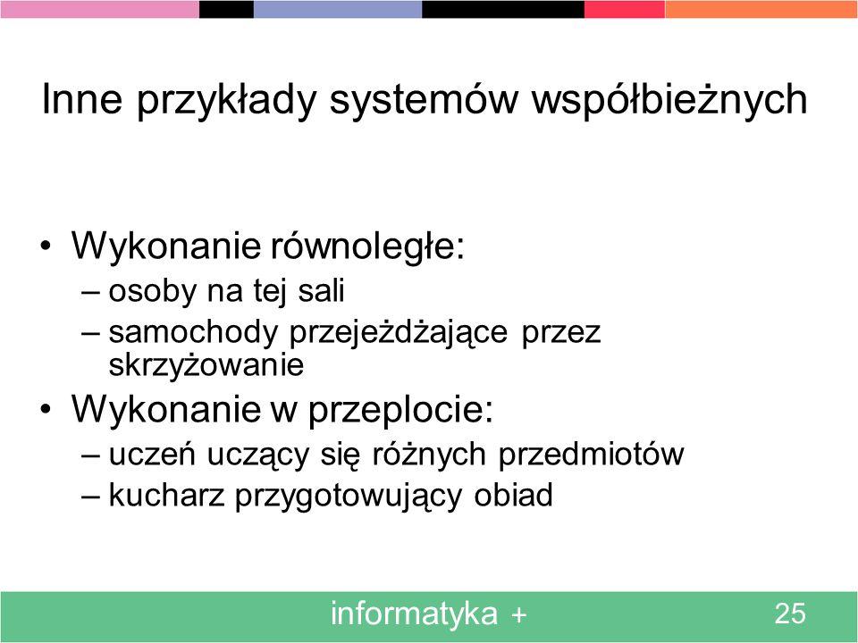Inne przykłady systemów współbieżnych
