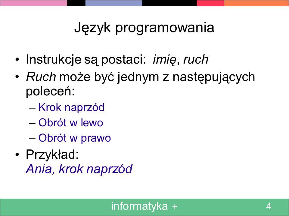 Język programowania Instrukcje są postaci: imię, ruch