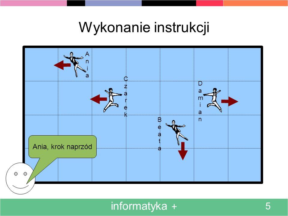 Wykonanie instrukcji informatyka + 5 Ania, krok naprzód Ania Czarek