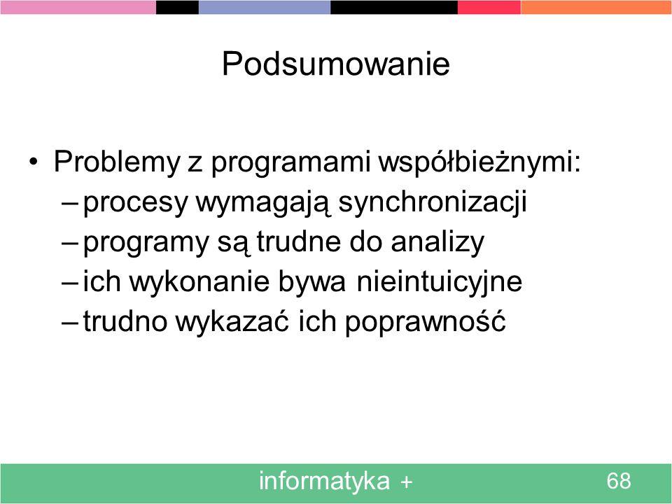 Podsumowanie Problemy z programami współbieżnymi: