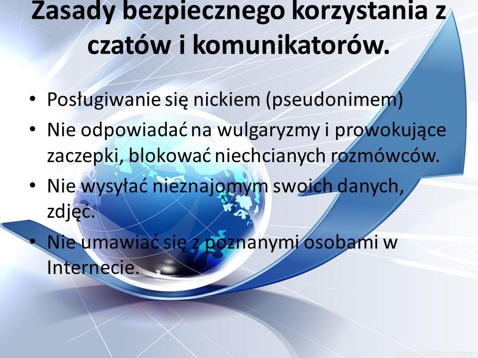 Zasady bezpiecznego korzystania z czatów i komunikatorów.