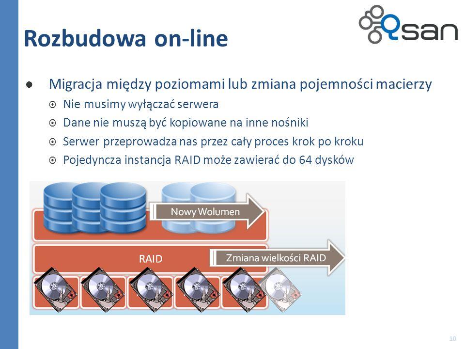 Rozbudowa on-line Migracja między poziomami lub zmiana pojemności macierzy. Nie musimy wyłączać serwera.