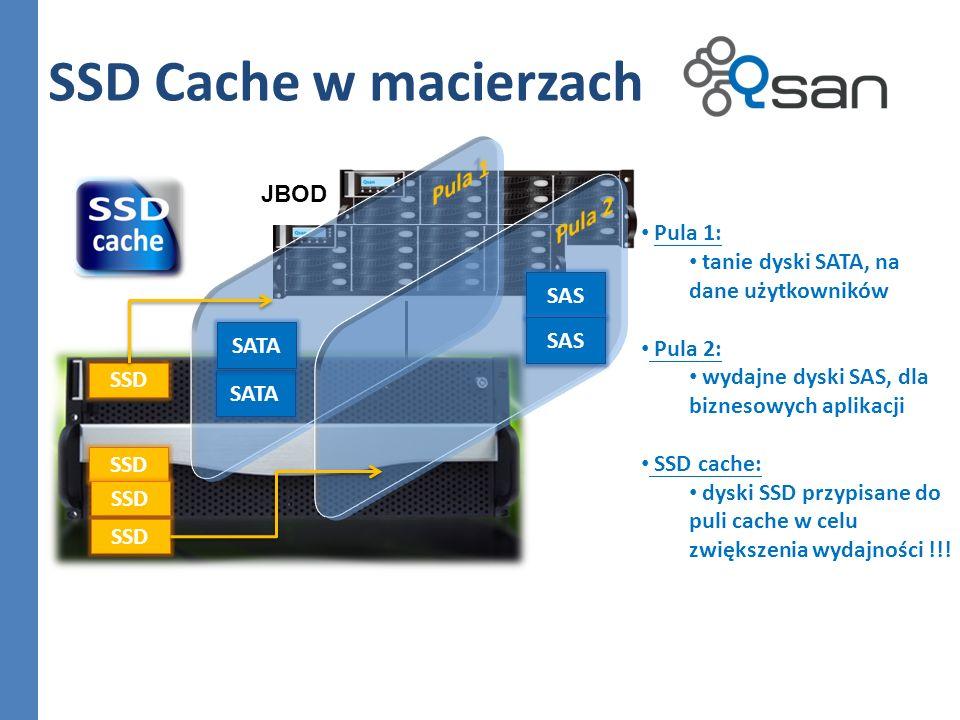 SSD Cache w macierzach Pula 1 Pula 2 JBOD Pula 1: