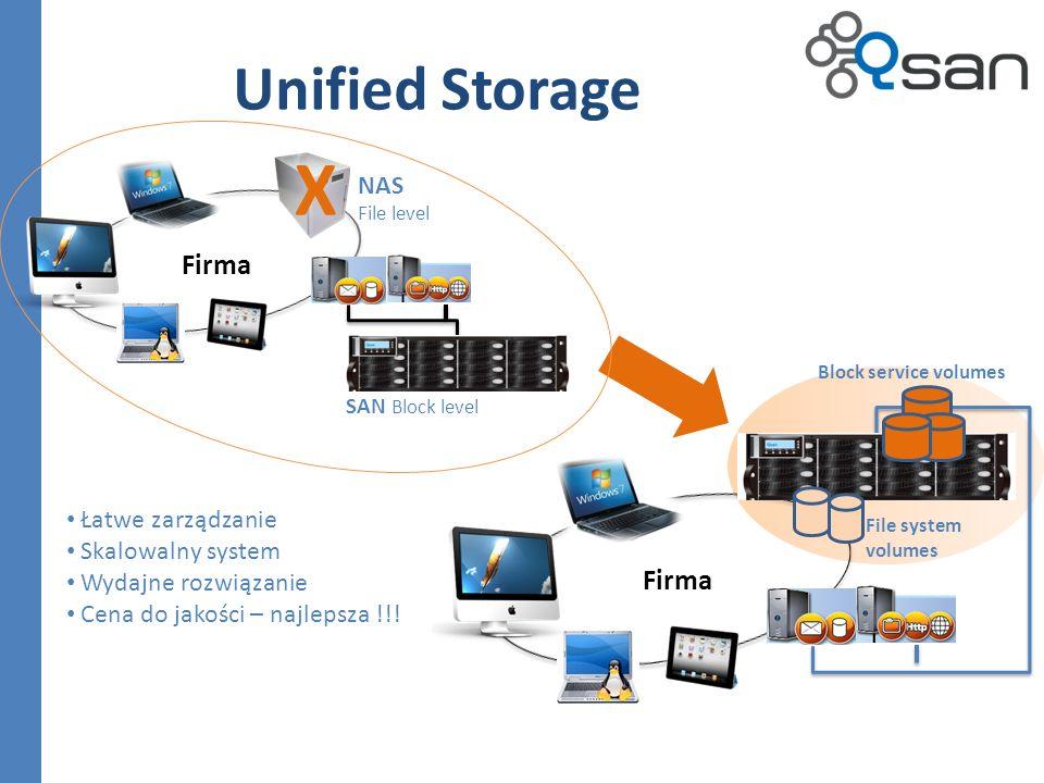 X Unified Storage Firma Firma NAS Łatwe zarządzanie Skalowalny system