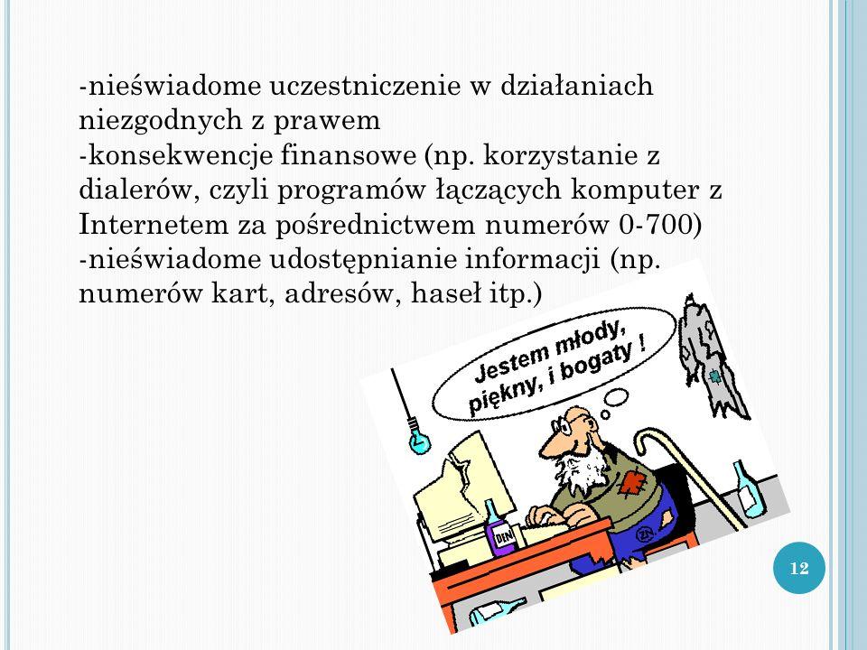 -nieświadome uczestniczenie w działaniach niezgodnych z prawem -konsekwencje finansowe (np.