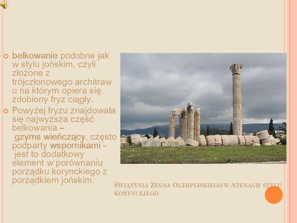 Świątynia Zeusa Olimpijskiego w Atenach stylu korynckiego