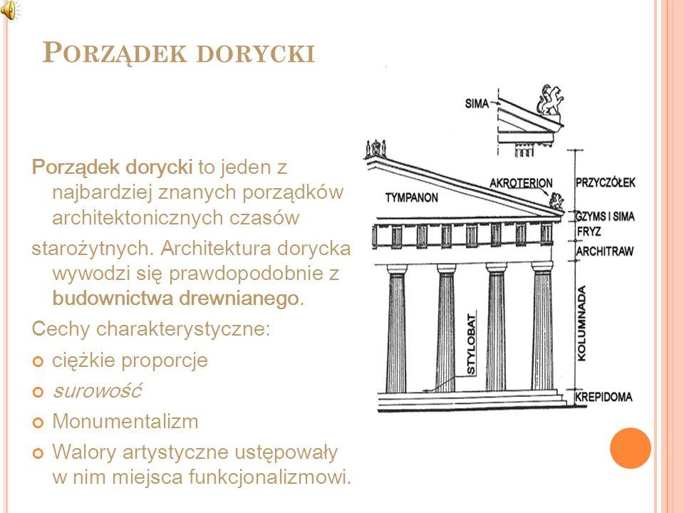 Porządek dorycki Porządek dorycki to jeden z najbardziej znanych porządków architektonicznych czasów