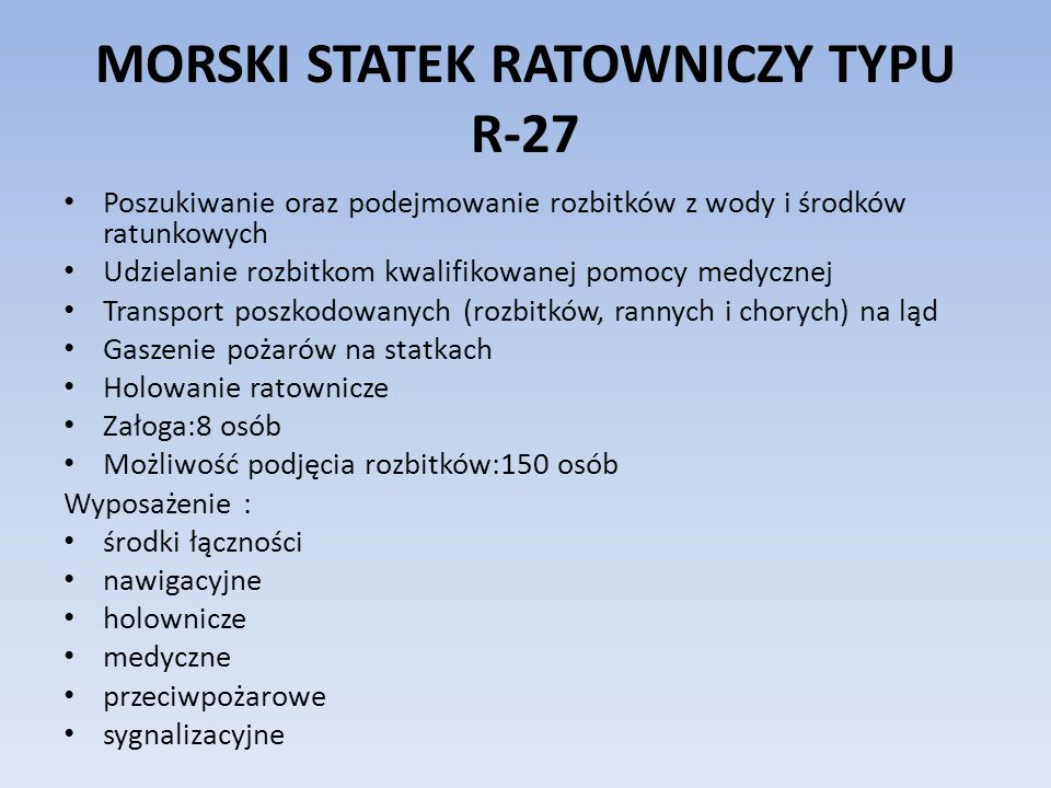 MORSKI STATEK RATOWNICZY TYPU R-27