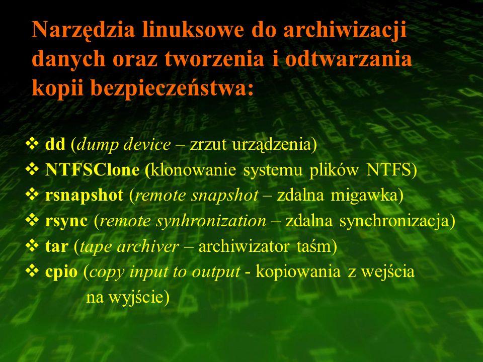 Narzędzia linuksowe do archiwizacji danych oraz tworzenia i odtwarzania kopii bezpieczeństwa: