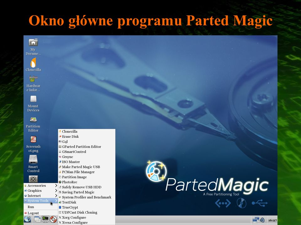Okno główne programu Parted Magic