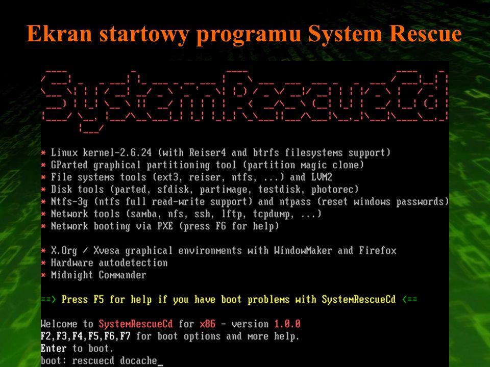Ekran startowy programu System Rescue