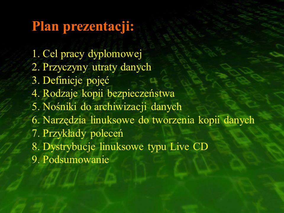 Plan prezentacji: Cel pracy dyplomowej Przyczyny utraty danych