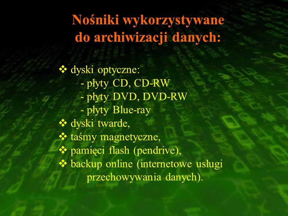 Nośniki wykorzystywane do archiwizacji danych: