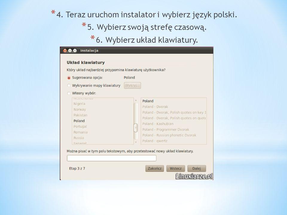 4. Teraz uruchom instalator i wybierz język polski.