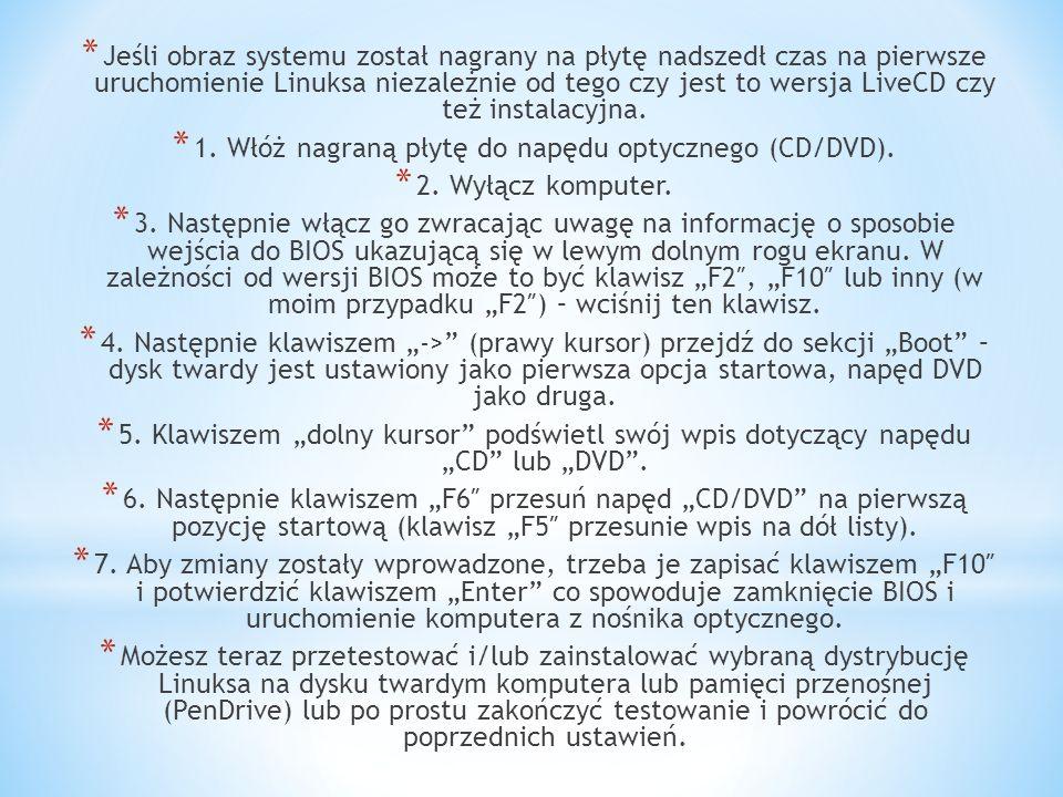 1. Włóż nagraną płytę do napędu optycznego (CD/DVD).