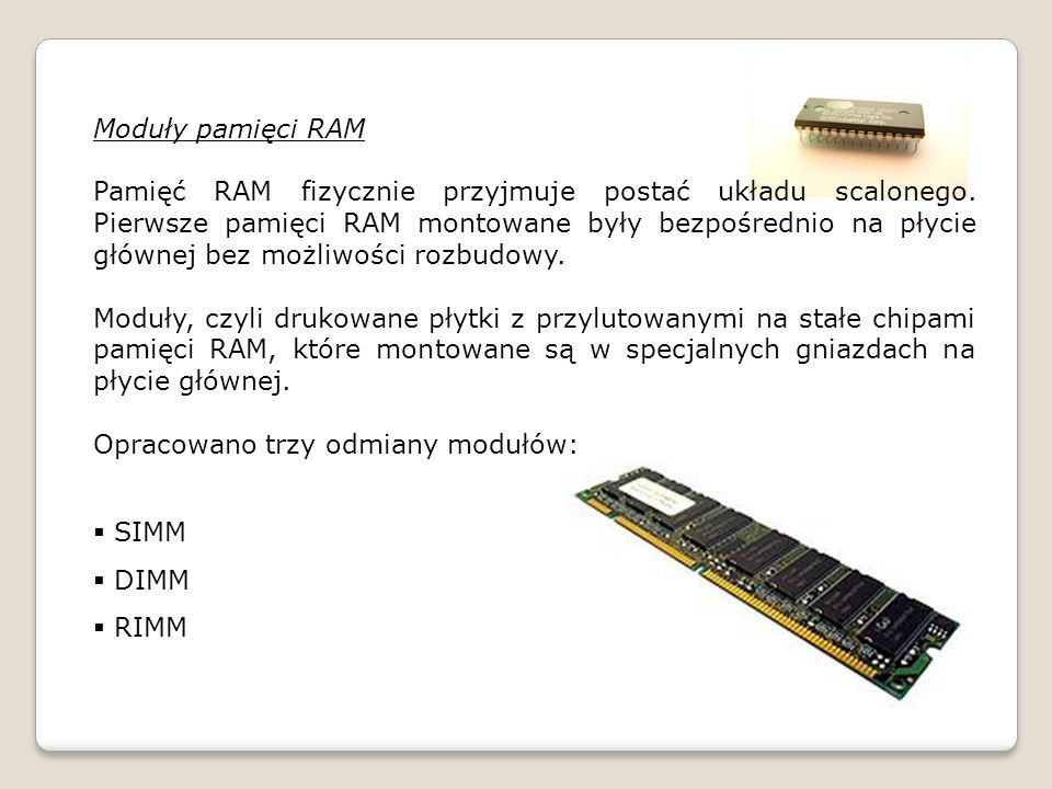 Moduły pamięci RAM