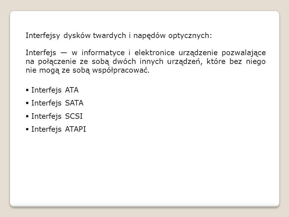 Interfejsy dysków twardych i napędów optycznych: