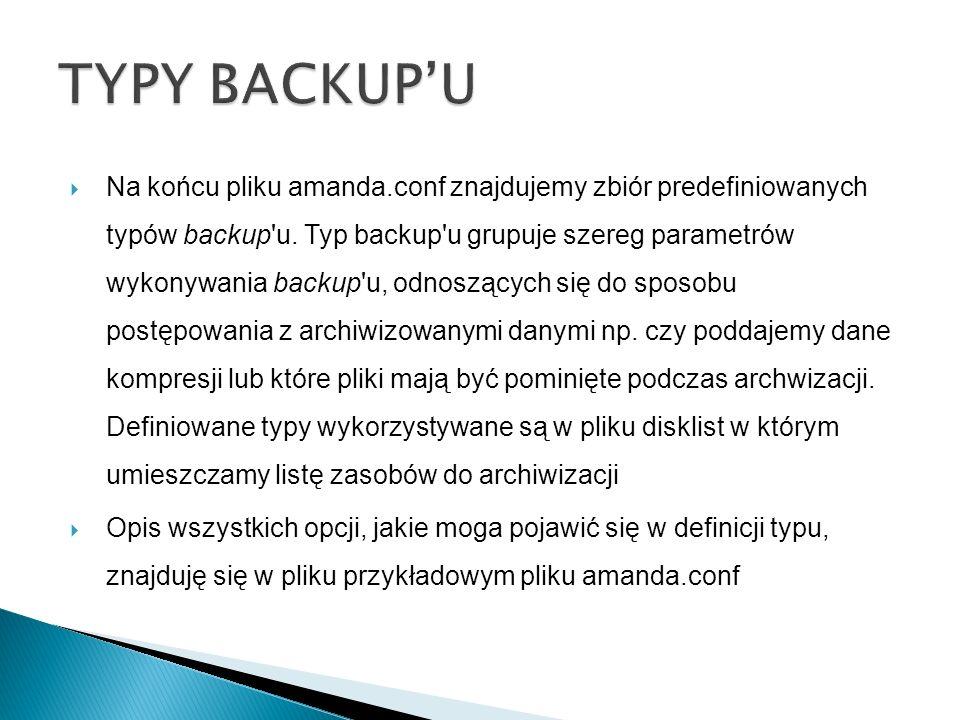 TYPY BACKUP'U