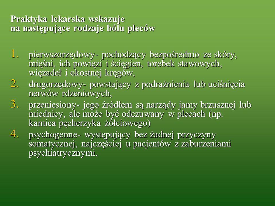 Praktyka lekarska wskazuje na następujące rodzaje bólu pleców