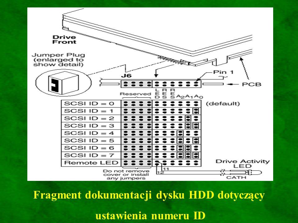 Fragment dokumentacji dysku HDD dotyczący