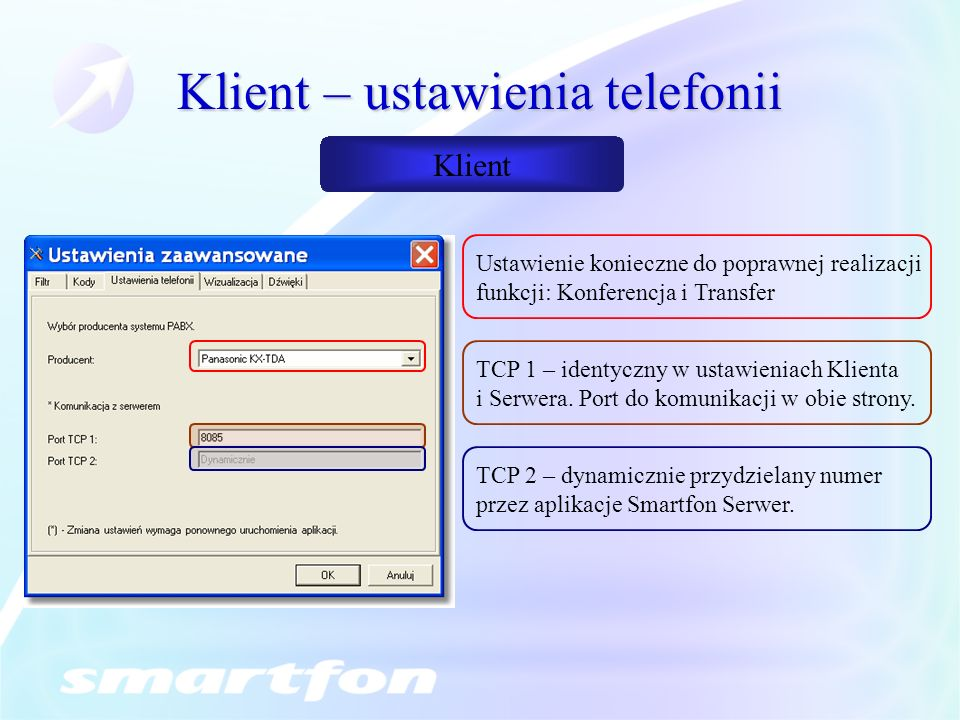 Klient – ustawienia telefonii