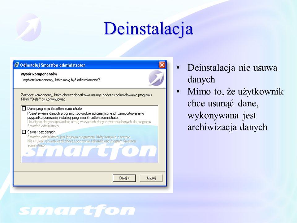 Deinstalacja Deinstalacja nie usuwa danych