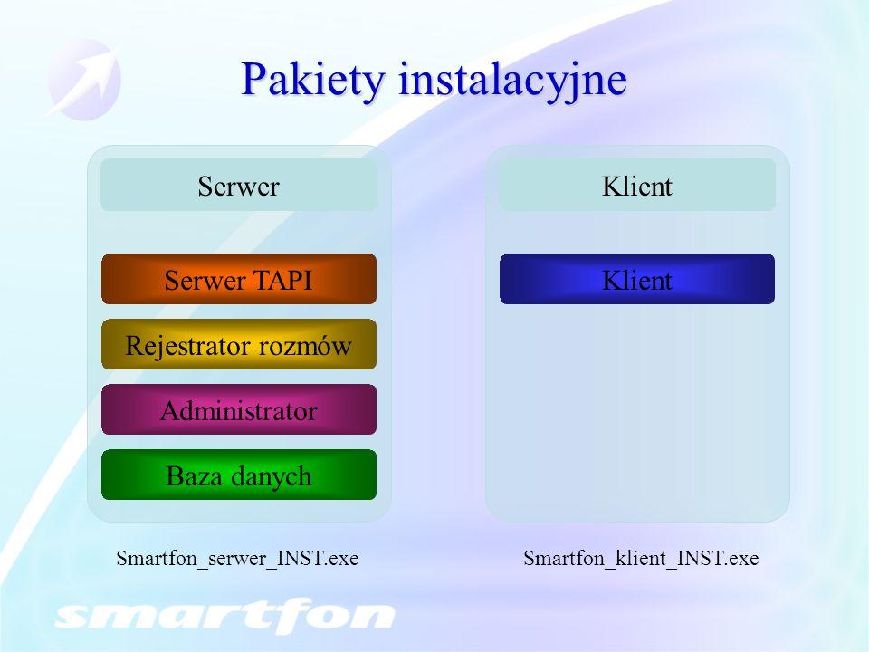Pakiety instalacyjne Serwer Klient Serwer TAPI Klient