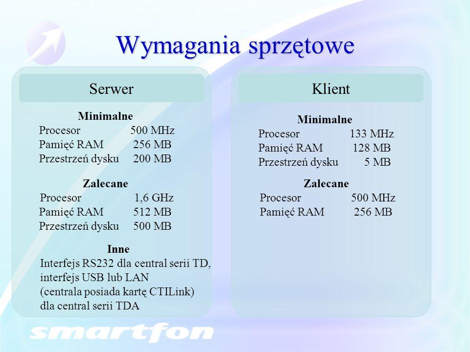 Wymagania sprzętowe Serwer Klient Minimalne Procesor 500 MHz