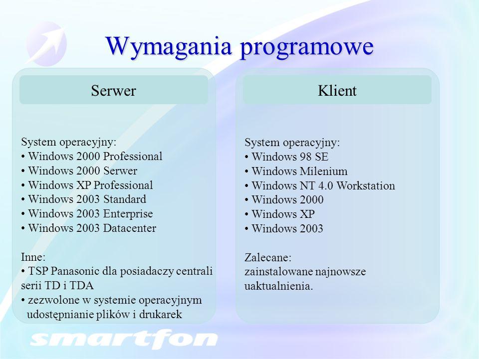 Wymagania programowe Serwer Klient System operacyjny:
