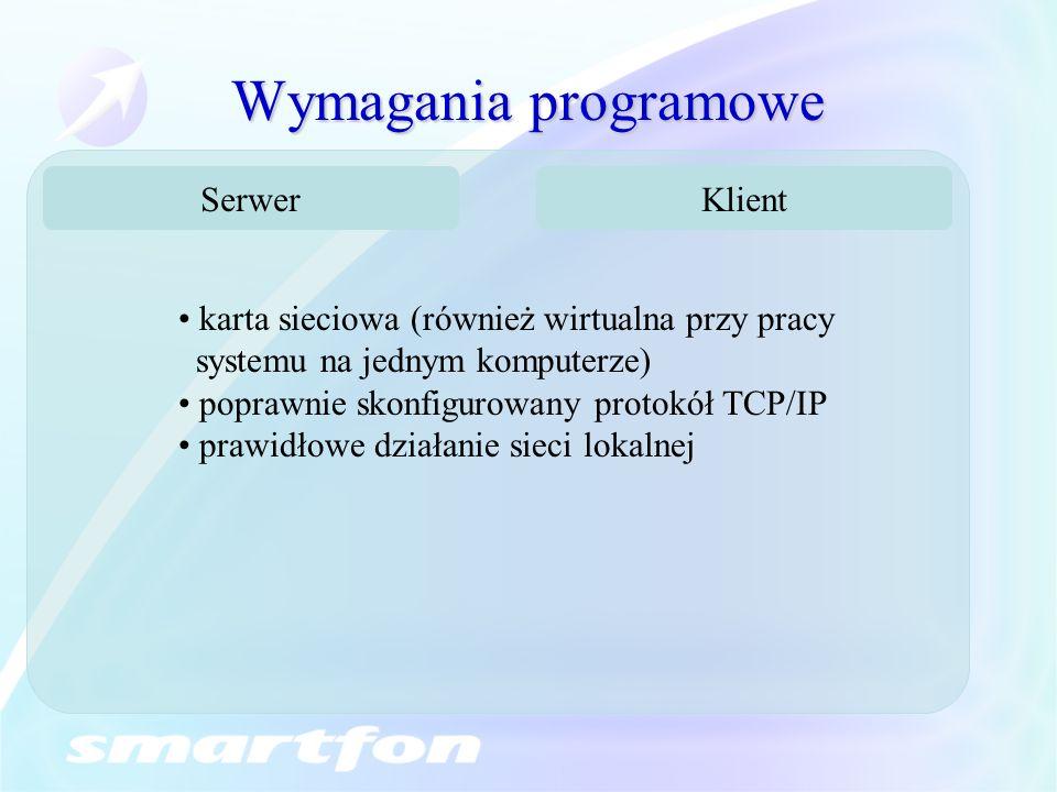 Wymagania programowe Serwer Klient