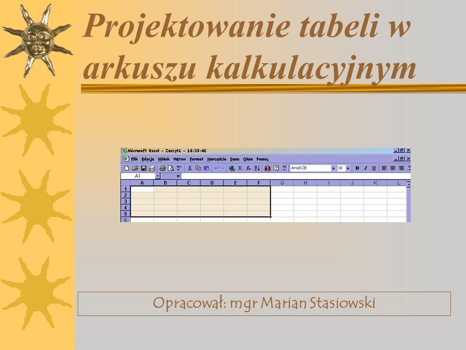 Projektowanie tabeli w arkuszu kalkulacyjnym