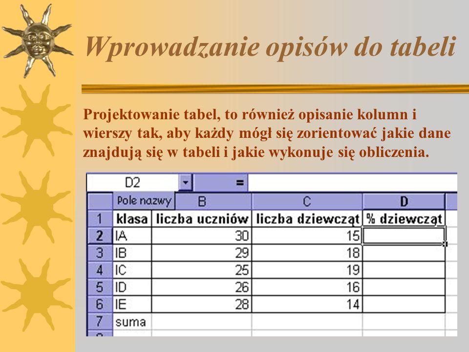 Wprowadzanie opisów do tabeli