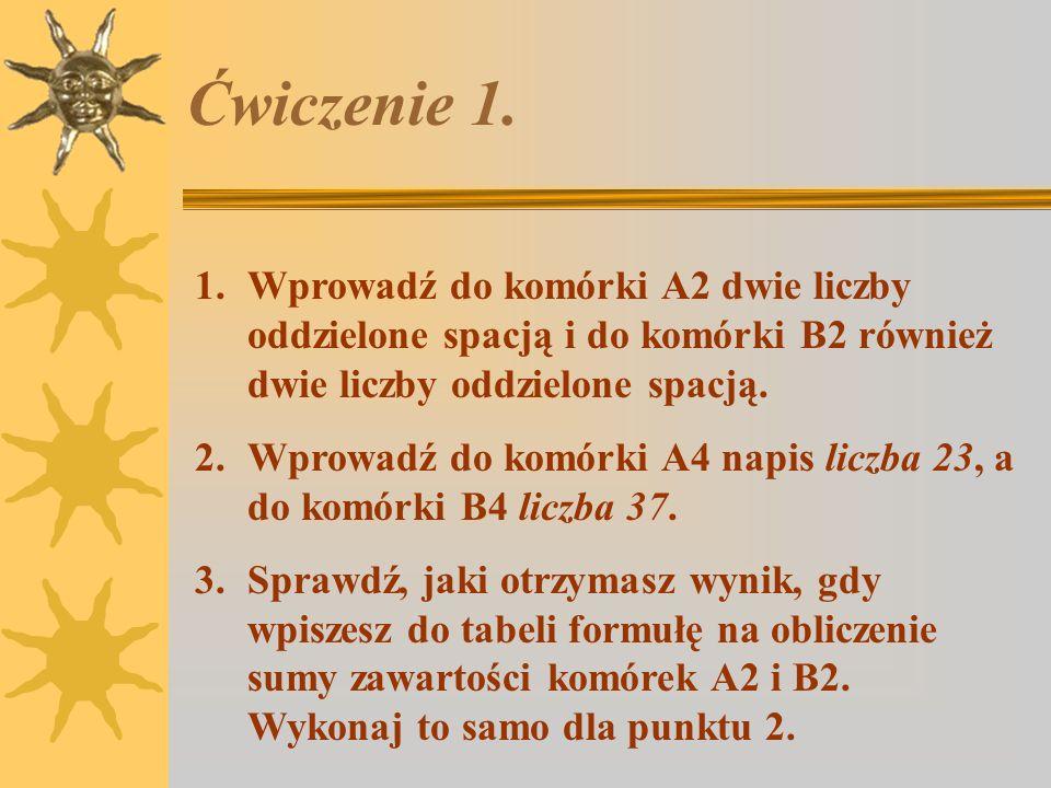 Ćwiczenie 1. Wprowadź do komórki A2 dwie liczby oddzielone spacją i do komórki B2 również dwie liczby oddzielone spacją.