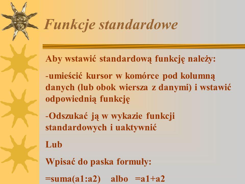 Funkcje standardowe Aby wstawić standardową funkcję należy:
