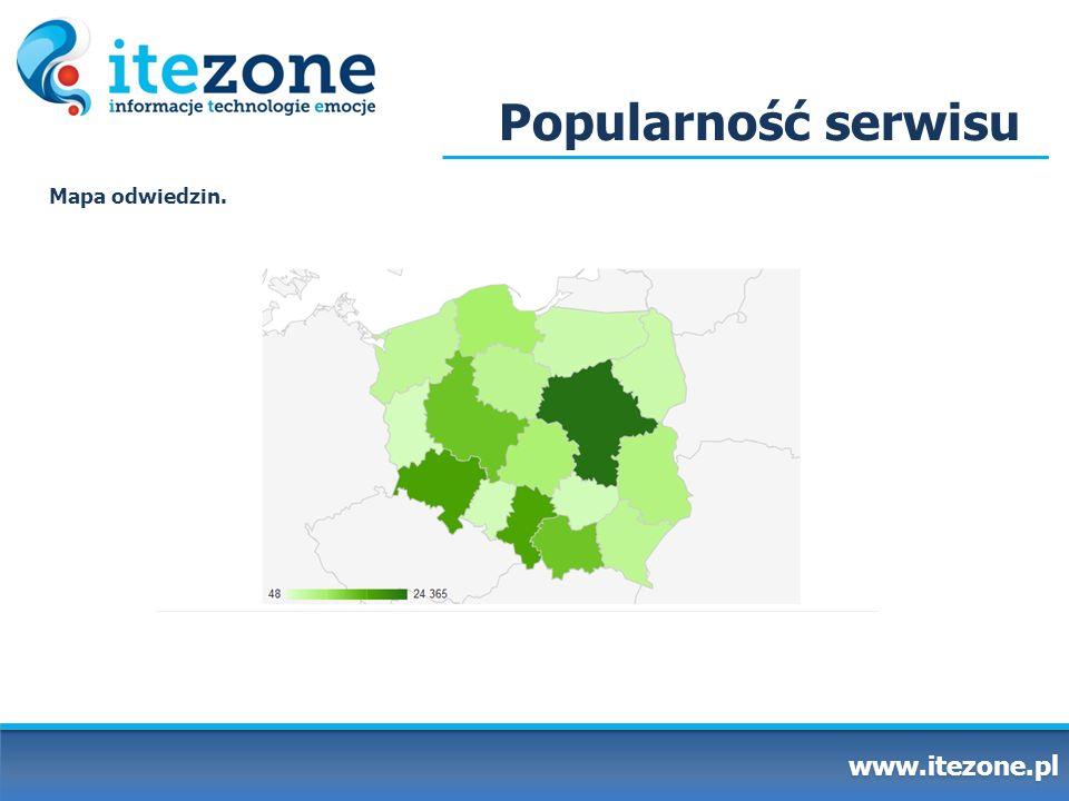Popularność serwisu Mapa odwiedzin. www.itezone.pl