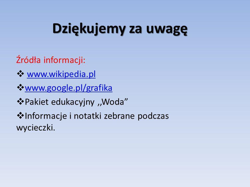 Dziękujemy za uwagę Źródła informacji: www.wikipedia.pl