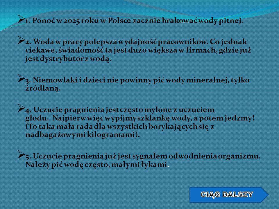 1. Ponoć w 2025 roku w Polsce zacznie brakować wody pitnej.