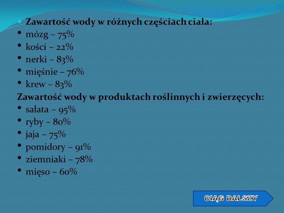 Zawartość wody w różnych częściach ciała: mózg – 75% kości – 22%