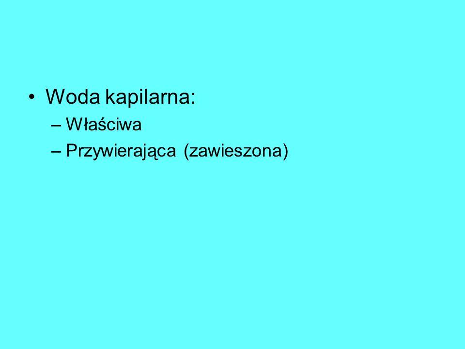 Woda kapilarna: Właściwa Przywierająca (zawieszona)
